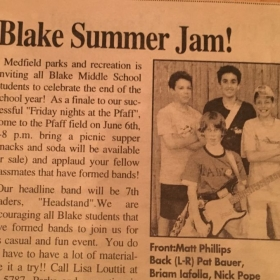 Another newspaper cutout of my rocker years. 7th grade