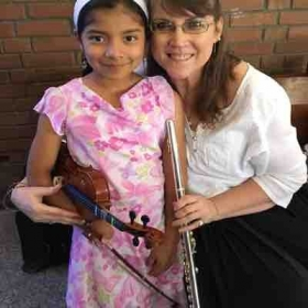 Playing flute for church at Cristo Rey in Guatemala City, Guatemala.