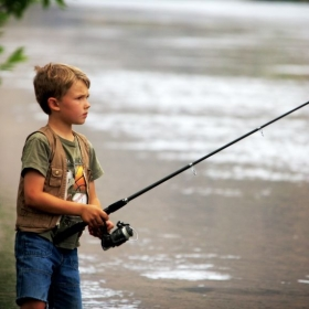 """Gone Fishing"" A candid photo of my son fishing along the Snake River in Idaho."