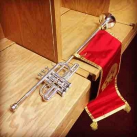 Herald Trumpet used for graduation ceremonies at Indiana University. These trumpets were specially made by David Monette.