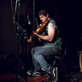 Performing viola at AS220 in Providence.