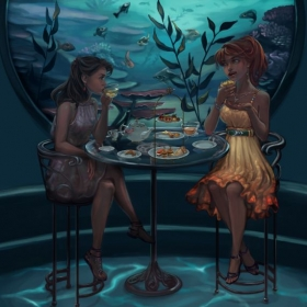 Illustration of a tea date at an aquarium