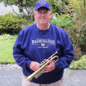 Leaving home to play in Husky Alumni Band at football game at Husky Stadium