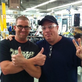 This is me with Fender Master Guitar Builder Dennis Galuszka at the Fender Headquarters in Corona, CA.