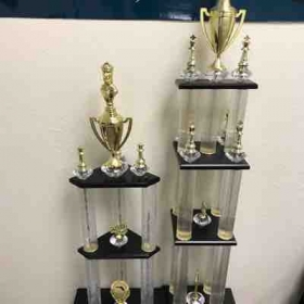 I am so proud of my students' accomplishments. These were some of the Massive trophies that they won at the state level tournaments.