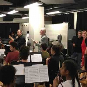 With composer Robert Sirota and Dr. Susan Epstein rehearsing my first orchestral piece at New World Schoold of the Arts.
