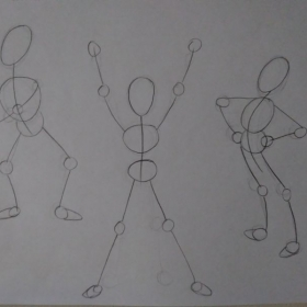 """Introduction to drawing characters in action by using what is called an """"action line."""""""