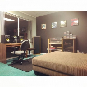 Garrett's Music Studio (where he teaches). This is photo 2/3, the waiting room where friends and family are welcome to relax