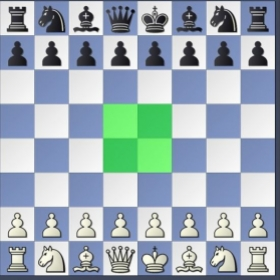 A chess strategy in the opening phase is control of the board's center squares.