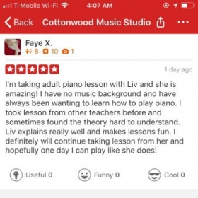 A yelp review from an adult student.