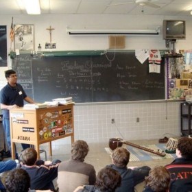Giving a lecture/ demo on sitar at Mt. St. Joseph High School in Baltimore.