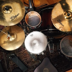 My DW Collectors Series drum kit. A Custom Cymbals. Remo Heads.