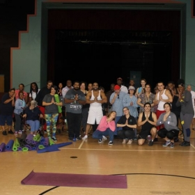 """Yoga with a """"Miracles in Motion"""" special needs group. They love it!"""