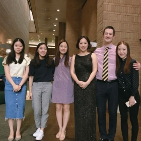 at my master's recital with friends and our teacher Andrew Brownell.