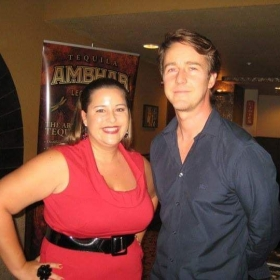 Alyssia and Edward Norton at the premiere of Leaves of Grass.