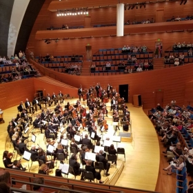 This photo is before a concert at the Kauffman Center in Kansas City in May 2018. I am in the cello section in the third row on the right.