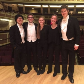 With some of the cello section at an Eastman School Symphony Orchestra concert!
