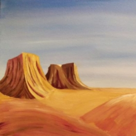 A recent desert scape I painted. Half as I cannot upload the whole photo.