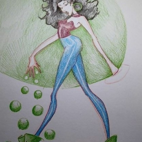 Fashion figure with color pencils.