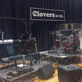 Photo from setting up the band for a GA 4-H Clovers & Company performance (the other side of the drums has the horn section).