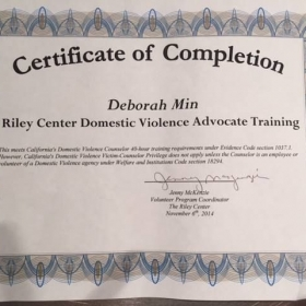 Certificate of Completion for 40 Hour Training which included: Emotional Wellness, Trauma, Emergency Crisis and Domestic Violence
