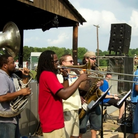 At the Naptown BarBayQ w/Higher Hands doing some New Orleans-style second line brass ensemble pieces.