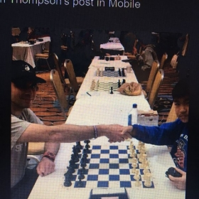 Myself (left) shaking my opponent's hand Eric Wu before the Championship Round (Round 7) of the 2018 Philadelphia Open.