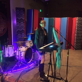 """Setting up for an online performance in promotion of a concert  to support the """"Tiny Homes"""" organization.   ~October, 2017 Los Angeles"""
