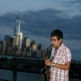 Me playing and entertaining the crowd on the hoboken waterfront.