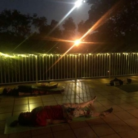 Yoga under a full moon.