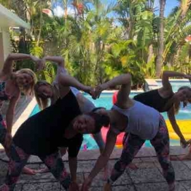 Private yoga parties like this bachelorette party
