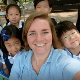With my adorable kindergarten students from when I taught in Korea.