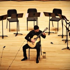 Performing in the UTRGV guitar studio recital.