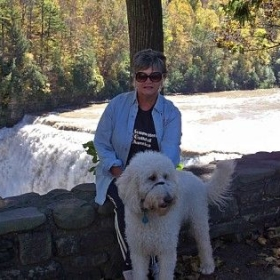 Me and my goldendoodle Lacey.