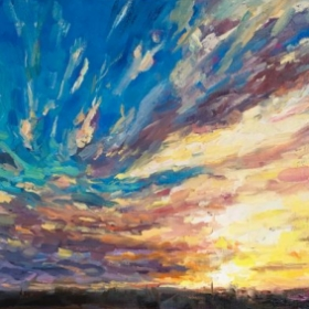 """Stormy Sunset at San Diego Harbor.  12 x 24"""" oil on canvas."""