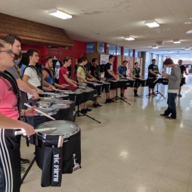 Running upper battery sectionals at Motor City Percussion 2017