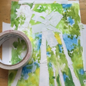 "An  example of using tape to ""resist"" the paint in watercolor."