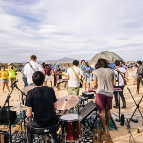 A cool photo of my band performing at a small desert music festival