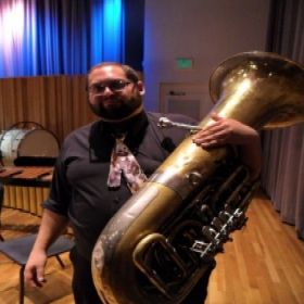 Performing Sofia Gubaidulina's music on Tuba in an orchestra. This is me after the performance.