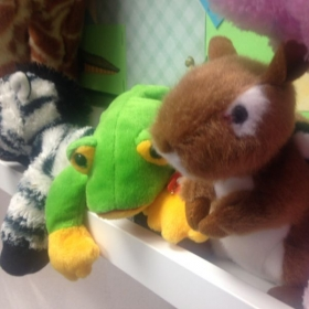 Charlie Chipmunk and his friends Tree Frog, Zechariah Zebra and Tall Giraffe