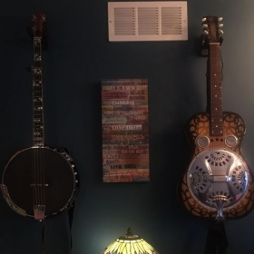 "Goldtone Bela Fleck ""missing link"" C-tuned baritone banjo and 1978 Dobr0 50th anniversary reproduction of 1928 dobro"