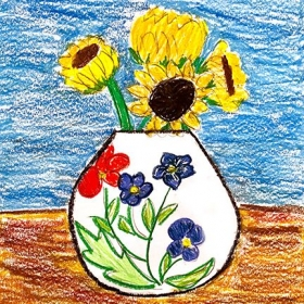 We studied Vincent van Gogh and learned about his sunflower paintings and did still life studies of sunflowers using oil pastels.