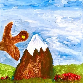 Acrylic art done by my kindergarten student this summer. 