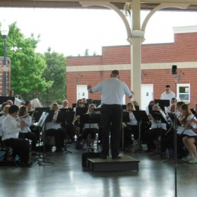 Playing flute with the Prince William Community Band in an Outdoor Summer Concert