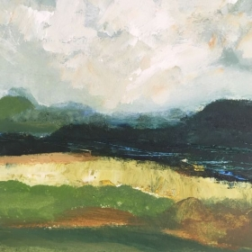 Acrylic mixed media on paper- abstract landscape