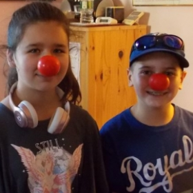 Skylar and Corbin helped me celebrate Red Nose Day in 2018.