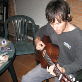 Trying my new Spanish guitar purchased in Granada Spain!