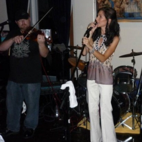 Performing live with country artist Abbie Lynn at her album release party.