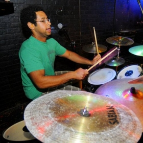 Me playing a rocking part with my college band, Black Jack Persia.