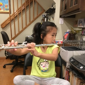 Young flute student